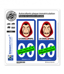 La Casa de Papel - Masque | Autocollant plaque immatriculation