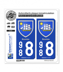 988 Nouméa - Armoiries | Autocollant plaque immatriculation