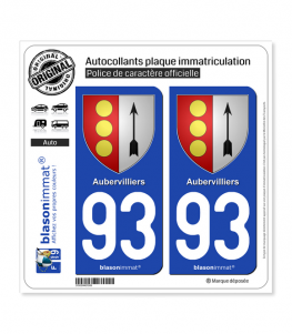 93 Aubervilliers - Armoiries | Autocollant plaque immatriculation