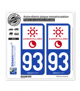 93 Aubervilliers - Ville | Autocollant plaque immatriculation
