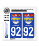 92 Courbevoie - Armoiries | Autocollant plaque immatriculation