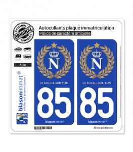 85 La Roche-sur-Yon - Ville impériale | Autocollant plaque immatriculation