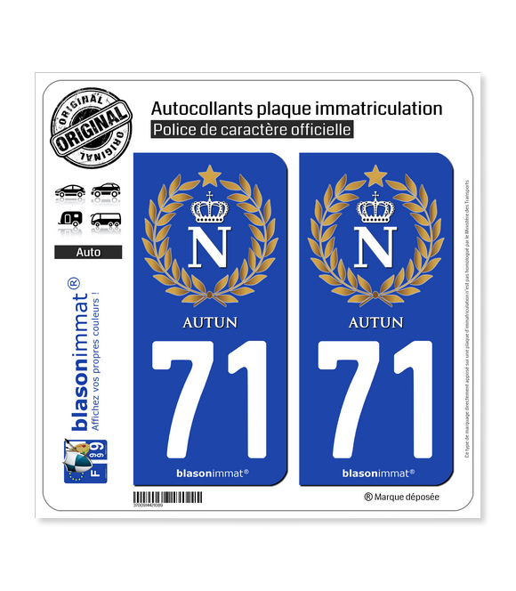 71 Autun - Ville impériale   Autocollant plaque immatriculation