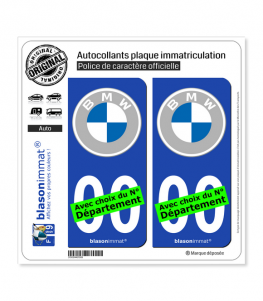 BMW - Macaron White-Grey | Autocollant plaque immatriculation