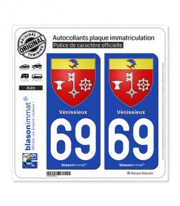 69 Vénissieux - Armoiries | Autocollant plaque immatriculation