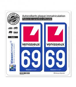 69 Vénissieux - Ville | Autocollant plaque immatriculation