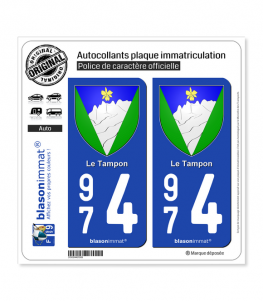 974 Le Tampon - Armoiries | Autocollant plaque immatriculation