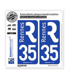 35 Rennes - Ville | Autocollant plaque immatriculation
