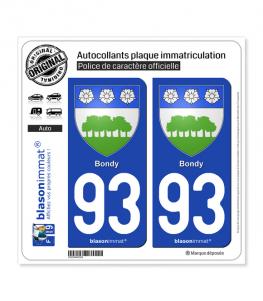 93 Bondy - Armoiries | Autocollant plaque immatriculation