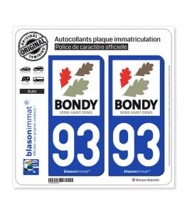 93 Bondy - Ville | Autocollant plaque immatriculation