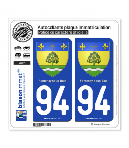 94 Fontenay-sous-Bois - Armoiries | Autocollant plaque immatriculation