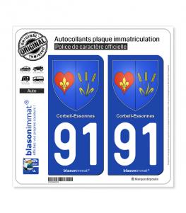 91 Corbeil-Essonnes - Armoiries | Autocollant plaque immatriculation