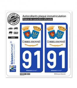 91 Corbeil-Essonnes - Ville | Autocollant plaque immatriculation