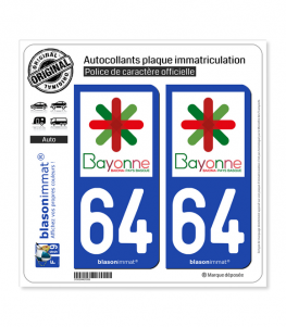 64 Bayonne - Ville | Autocollant plaque immatriculation