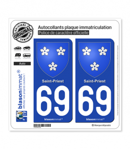 69 Saint-Priest - Armoiries | Autocollant plaque immatriculation