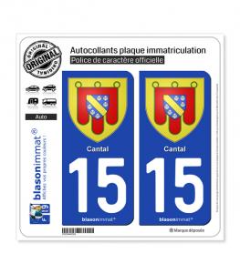 15 Cantal - Armoiries | Autocollant plaque immatriculation