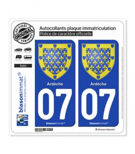 07 Ardèche - Armoiries | Autocollant plaque immatriculation