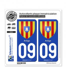 09 Ariège - Armoiries | Autocollant plaque immatriculation