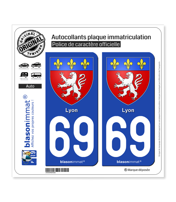 69 Lyon - Armoiries | Autocollant plaque immatriculation