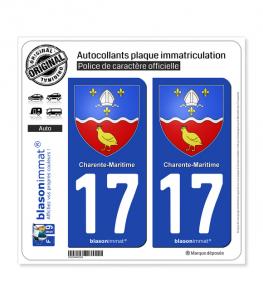 17 Charente-Maritime - Armoiries | Autocollant plaque immatriculation