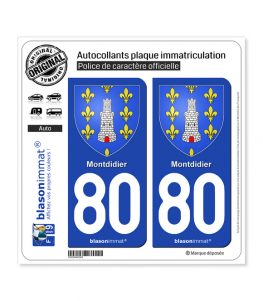 80 Montdidier - Armoiries | Autocollant plaque immatriculation