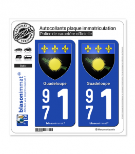 971 Guadeloupe - Armoiries | Autocollant plaque immatriculation