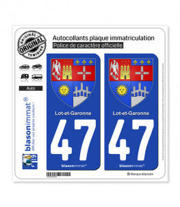 47 Lot-et-Garonne - Armoiries II | Autocollant plaque immatriculation