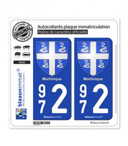 972 Martinique - Armoiries | Autocollant plaque immatriculation