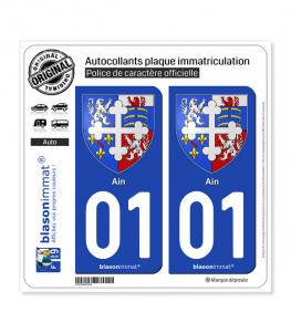 01 Ain - Armoiries | Autocollant plaque immatriculation