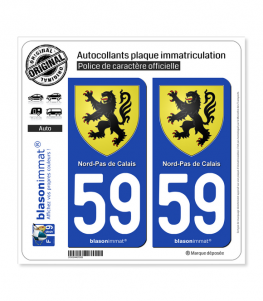 59 Nord-Pas de Calais - Armoiries | Autocollant plaque immatriculation