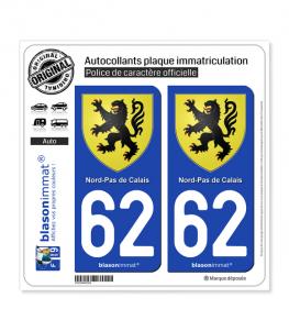 62 Nord-Pas de Calais - Armoiries | Autocollant plaque immatriculation
