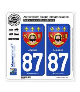 87 Limoges - Armoiries | Autocollant plaque immatriculation