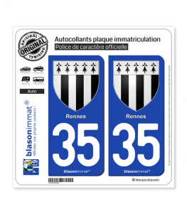 35 Rennes - Armoiries | Autocollant plaque immatriculation