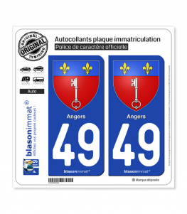 49 Angers - Armoiries | Autocollant plaque immatriculation