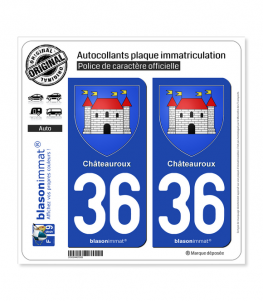 36 Châteauroux - Armoiries | Autocollant plaque immatriculation