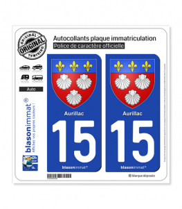 15 Aurillac - Armoiries | Autocollant plaque immatriculation
