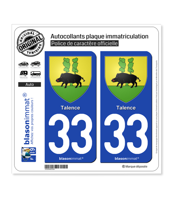 33 Talence - Armoiries | Autocollant plaque immatriculation