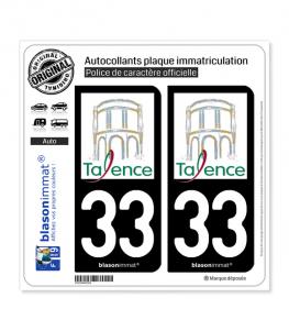 33 Talence - Ville   Autocollant plaque immatriculation
