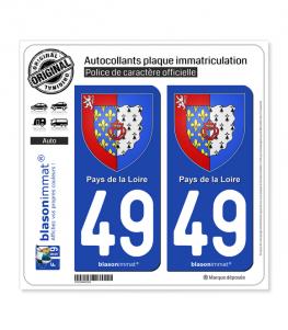 49 Pays de la Loire - Armoiries | Autocollant plaque immatriculation