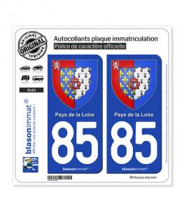 85 Pays de la Loire - Armoiries | Autocollant plaque immatriculation
