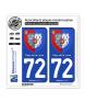 72 Pays de la Loire - Armoiries | Autocollant plaque immatriculation