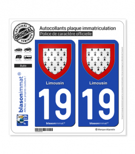 19 Limousin - Armoiries | Autocollant plaque immatriculation