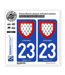 23 Limousin - Armoiries | Autocollant plaque immatriculation