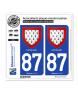 87 Limousin - Armoiries | Autocollant plaque immatriculation
