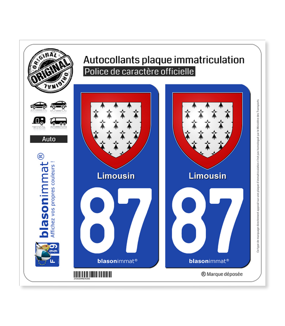 87 Limousin - Armoiries | Autocollant plaque immatriculation