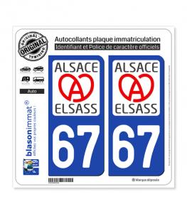 67 Alsace - LogoType II | Autocollant plaque immatriculation