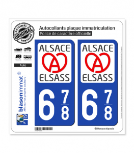 678 Alsace - LogoType II | Autocollant plaque immatriculation