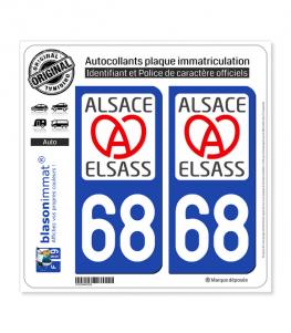 68 Alsace - LogoType II | Autocollant plaque immatriculation