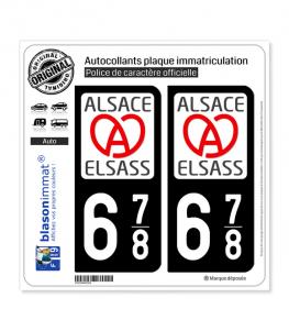 678 Alsace - LogoType II   Autocollant plaque immatriculation