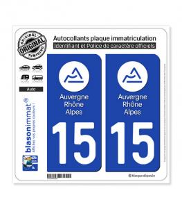 15 Auvergne-Rhône-Alpes - LogoType | Autocollant plaque immatriculation